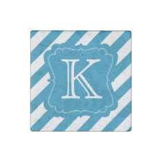 Aqua Blue Stripes Monogram Stone Magnet at Zazzle