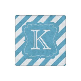Aqua Blue Stripes Monogram Stone Magnet