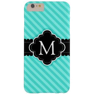 Aqua Blue Stripes Pattern Black Custom Monogram Barely There iPhone 6 Plus Case