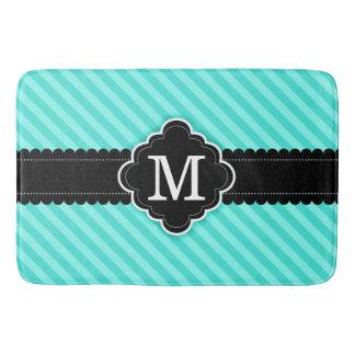 Aqua Blue Stripes Pattern Black Custom Monogram Bathroom Mat