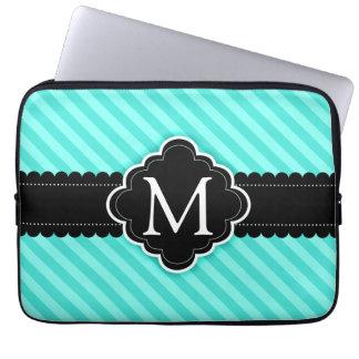 Aqua Blue Stripes Pattern Black Custom Monogram Laptop Sleeve