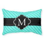 Aqua Blue Stripes Pattern Black Custom Monogram M Small Dog Bed