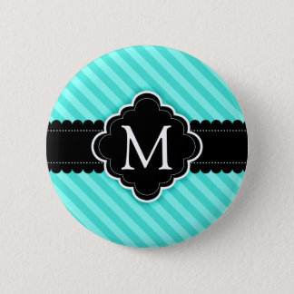 Aqua Blue Stripes Pattern Black Custom Monogram Pinback Button