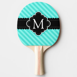 Aqua Blue Stripes Pattern Black Custom Monogram Ping-Pong Paddle