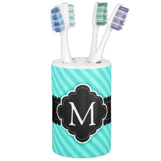 aqua blue stripes pattern black custom monogram soap dispenser and toothbrush holder