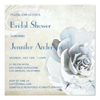 Aqua Blue Succulent Modern Chic Bridal Shower Card
