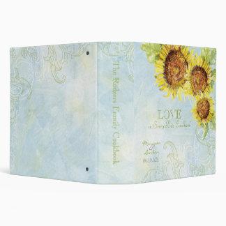Aqua Blue Sunflower Floral Swirl Modern Wedding 3 Ring Binders