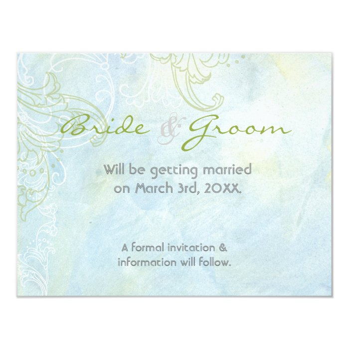 Aqua Blue Sunflower Floral Swirl Modern Wedding Card