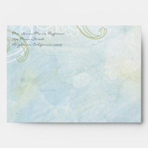 Aqua Blue Sunflower Floral Swirl Modern Wedding Envelope
