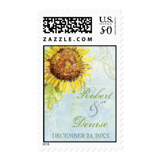 Aqua Blue Sunflower Floral Swirl Modern Wedding Postage