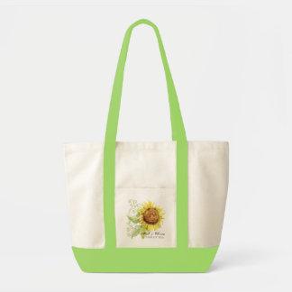 Aqua Blue Sunflower Floral Swirl Modern Wedding Tote Bag