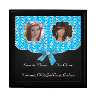 Aqua Blue Swag Bling 2 Photos Graduation Keepsake Box