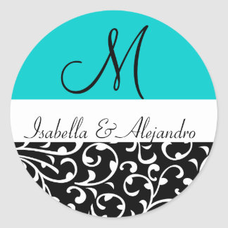 Aqua Blue Swirl Damask Monogram Wedding Stickers