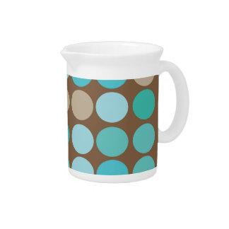 Aqua Blue Teal & Brown Dots Modern Abstract Pitcher