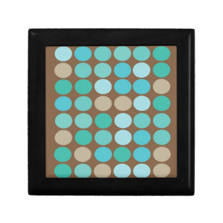 Aqua Blue Teal & Brown Dots Modern Jewelry Box