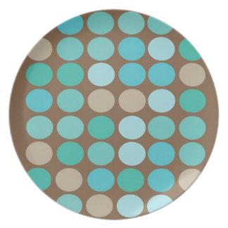 Aqua Blue Teal Brown Dots Modern Pattern Abstract Melamine Plate