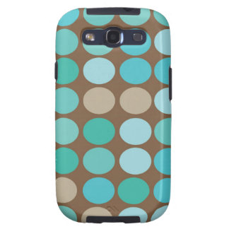 Aqua Blue Teal & Brown Dots Modern Pattern Galaxy S3 Cover
