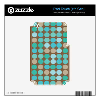 Aqua Blue Teal & Brown Dots Modern Pattern Decal For iPod Touch 4G