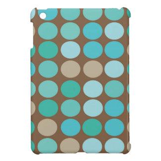 Aqua Blue Teal & Brown Dots Modern Pattern iPad Mini Cases