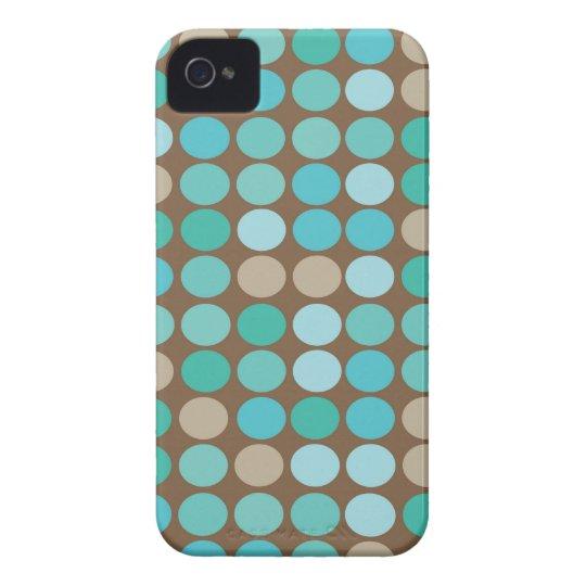 Aqua Blue Teal & Brown Dots Modern Pattern iPhone 4 Case