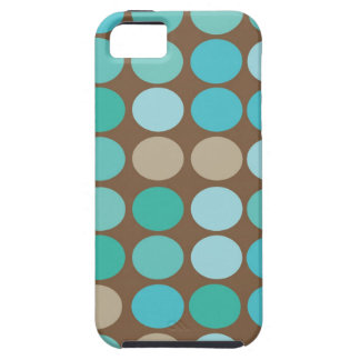 Aqua Blue Teal & Brown Dots Modern Pattern iPhone SE/5/5s Case