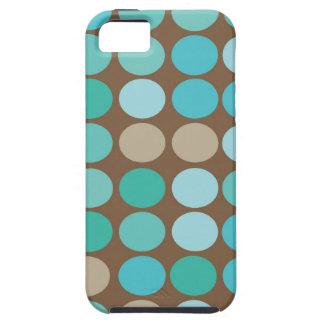 Aqua Blue Teal & Brown Dots Modern Pattern iPhone SE/5/5s Case