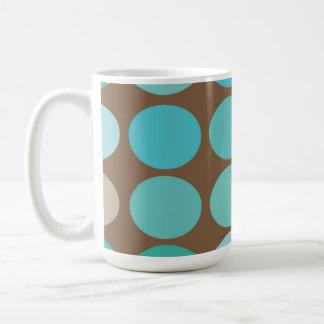 Aqua Blue Teal & Brown Dots Modern Pattern Mug