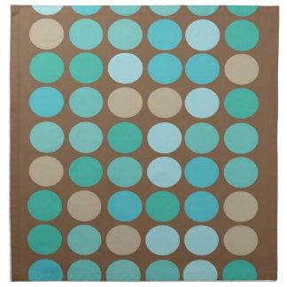 Aqua Blue Teal & Brown Dots Modern Pattern Napkins