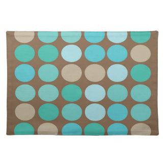 Aqua Blue Teal & Brown Dots Modern Pattern Cloth Placemat