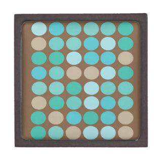 Aqua Blue Teal & Brown Dots Modern Pattern Premium Trinket Box
