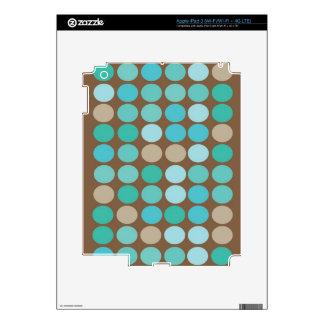 Aqua Blue Teal & Brown Dots Modern Pattern iPad 3 Skin