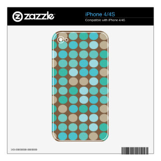 Aqua Blue Teal & Brown Dots Modern Pattern Skin For iPhone 4
