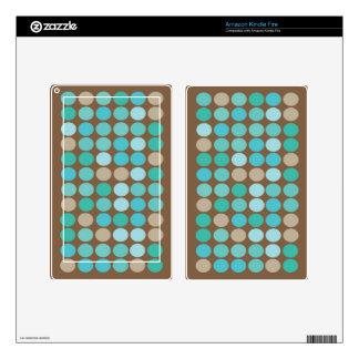 Aqua Blue Teal & Brown Dots Modern Pattern Skin For Kindle Fire