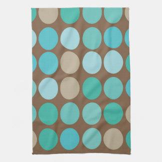 Aqua Blue Teal & Brown Dots Modern Pattern Towels