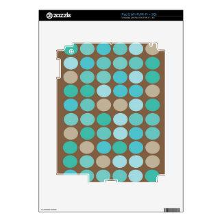 Aqua Blue Teal & Brown Dots Pattern ipad 2 Skins