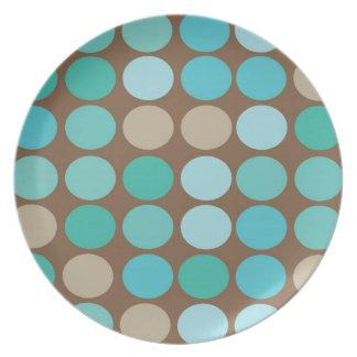 Aqua Blue Teal & Brown Dots Pattern Modern Plates