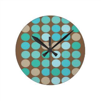 Aqua Blue Teal & Brown Dots Pattern Modern Round Clock