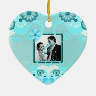 Aqua Blue Teal Floral Wedding Keepsake Heart Ceramic Ornament