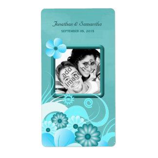 Aqua Blue Teal Floral Wedding Photo Favor Wine Label