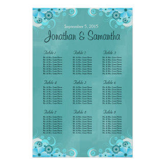 Aqua Blue Teal Floral Wedding Table Seating Charts