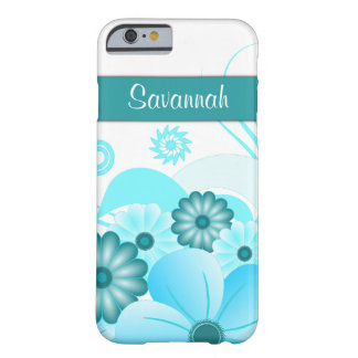 Aqua Blue Teal Hibiscus Floral iPhone 6 6S Slim Barely There iPhone 6 Case