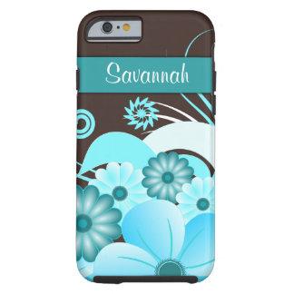 Aqua Blue Teal Hibiscus Floral iPhone 6 6S Tough Tough iPhone 6 Case