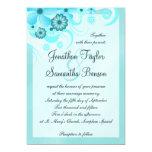 Aqua Blue Teal Hibiscus Floral Wedding Card