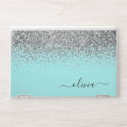 Aqua Blue Teal Silver Glitter Monogram HP Laptop Skin