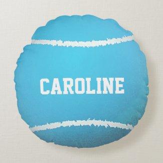 Aqua Blue Tennis Ball Design Round Pillow