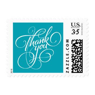 Aqua Blue Thank You Postage Stamp