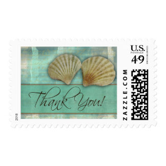 Aqua blue thank you - with sea shells postage stamps
