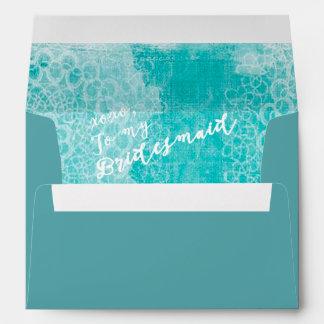 Aqua Blue To My Bridesmaid Wedding Lined Envelope
