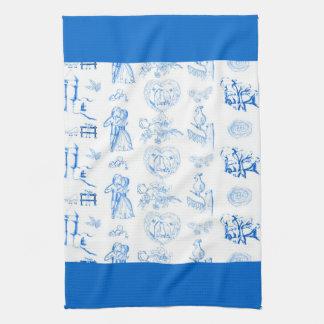Aqua Blue Toile American MoJo Kitchen Towel