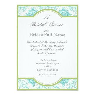 Aqua Blue Toile Quatrefoil - Bridal Shower Invite